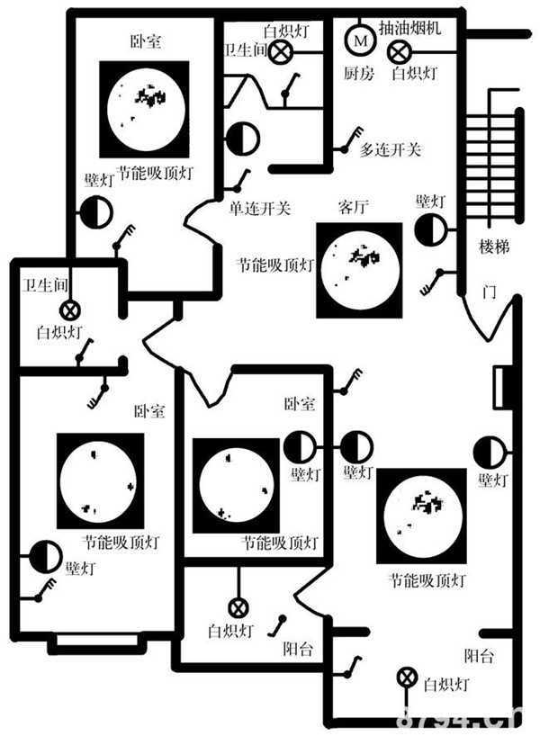 三室两厅照明电路