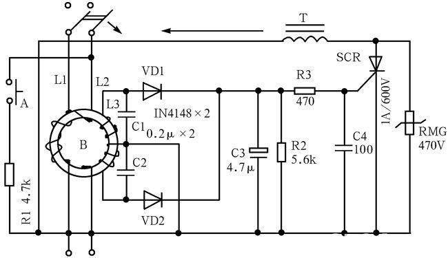 """家用漏保器上利用""""剩余动作电流""""原理派生过压保护功能。如图2-41所示的电路中,在试验按钮A和试验电阻R1构成的回路两端并联一只标称值的压敏电阻或启辉器的氖泡,使漏电保护器具有过压保护功能。其原理是试验回路是跨接在电流互感器上下两端的电源的两侧,在这上边通过的电流,就相当于B的初级通过的剩余电流,这就模拟了人体触电或设备漏电状况,借此验证电路动作是否正常。当在A、R1回路并联稳压管一类的元件后,其稳压值就是过压保护动作值,一般设定为280V。当因电网故障原因引起电压升高超过设定"""