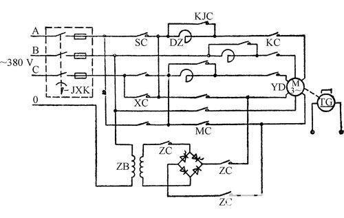 图1-42 1.0m/s交流调速电梯主拖动电路原理图