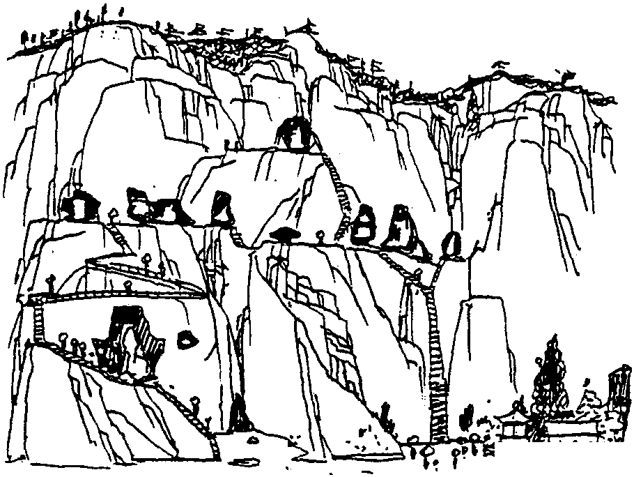 """因果洞位于山脚下,是 """"地府""""的所在。它是一个自然洞窟,里面幽远深邃,黑雾漫漫,阴风飕飕,深不可测,高敞的洞顶上还有钟乳石和泉华。李京开在这里利用天然石柱凿了两尊面貌狰狞、手执镣铐的牛头马面像,再向里一点的正厅上则凿了阎罗天子的像,石壁上则刻着若干劝人及时行善积德以免因果报应堕入地狱的文字,给人以一种恐怖阴森的感觉。沿梯向上是""""人间""""一层,这里上下并排着玉金、毫笔、墨池、虎龙、狮子、孔丘六洞,是整个玉皇洞群的精华之所在,雕刻丰富,造像最多,笔洞和墨池洞"""