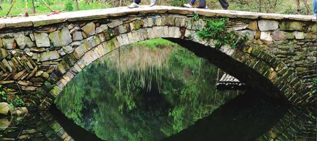 翠绿的水面仿佛一面镜子,把石拱桥照得更加清晰、秀丽。