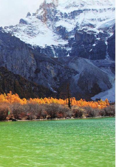 岸旁色彩分明的树木仿佛给幽幽河水系上了一条鲜艳的彩带。