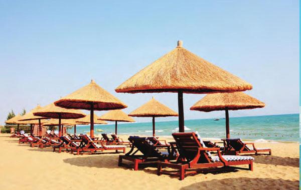 亚龙湾海滩上一排排遮阳伞整齐罗列,躺在伞下吹着海风,看着海景,好不惬意。