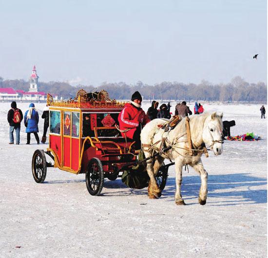 哈尔滨冬季气温可达-40 ℃以下,人们驾着马车在雪地里游走观光。