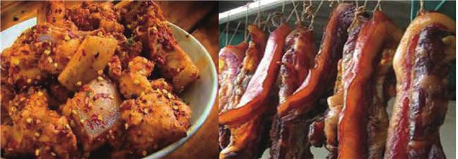 左图为当地传统美食九大碗的主菜猪肉,右图为当地人腌制的腊肉。