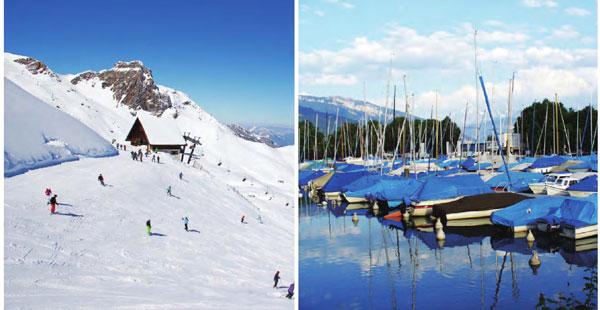 在阿尔卑斯山脚下的山顶湖泊,无私地哺育着小镇上的人们。