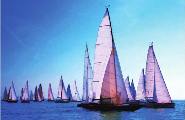 奥克兰被称为世界帆船之都,白色的帆船在蔚蓝的大海上扬帆远行。